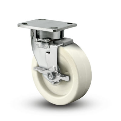 8 Inch Albion 120 Contender Kingpinless Stainless Swivel Caster - (120RW08201S-01FBD)