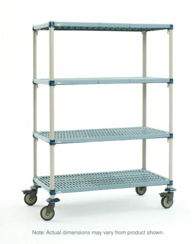 "MetroMax Q 4-Tier Stem Caster Cart, Open Grid Shelves, 24"" x 60"" x 67.3125"" (0-41105-67911-1)"