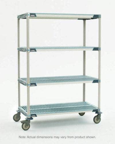 "MetroMax i 4-Tier Stem Caster Cart, Open Grid Shelves, 24"" x 48"" x 67.3125"" (0-41105-81256-3)"