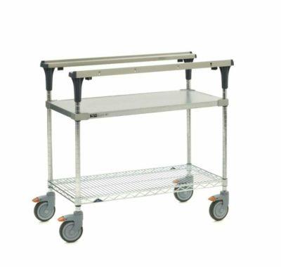 "PrepMate MultiStation, 36"", Solid Galvanized top shelf and Brite Zinc Wire bottom shelf with Chrome posts (0-41105-88068-5)"